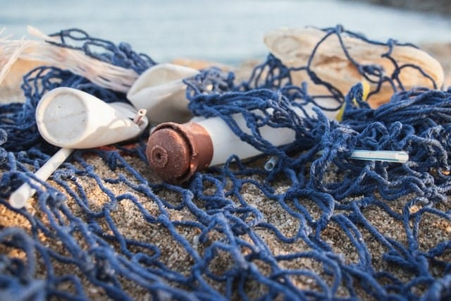 plastic waste in the net