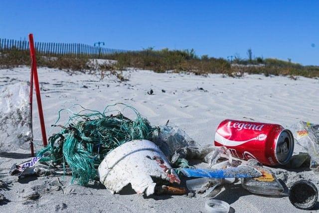 plastic waste on the sand