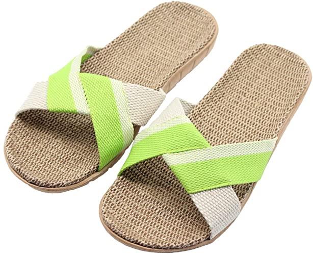FRALOSHA Women's Slippers Flax Cross Indoor Breathable Outdoor Sandals