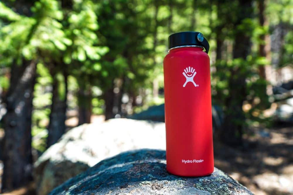 Eco friendly water bottles in a forest